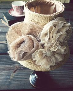 burlap and muslin flowers | Rustic/Cottage Shabby Chic Burlap Flower Lamp/Buffet Lamp