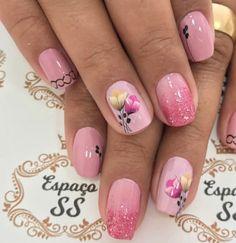 Casa das Unhas #unhasdecoradas Nail Polish Designs, Nail Designs, Spring Nails, Flower Designs, Nail Colors, Manicure, Nail Art, White Nail Beds, Perfect Nails