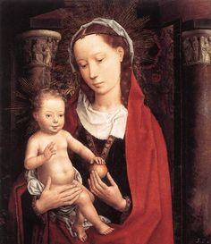 Standing Virgin and Child - Hans Memling. 43 x 36 cm. Renaissance Fashion, Renaissance Art, Catholic Art, Religious Art, Virgo, Robert Campin, Hans Memling, Art Fund, Renaissance Paintings