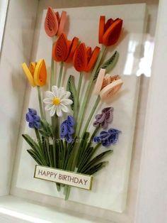 オレンジ色のチューリップたち / HAPPY BIRTHDAY!|Toshi's Paper Quilling ♪