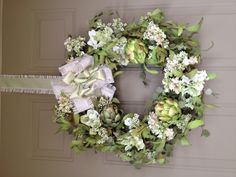 ~Gorgeous Spring Artichoke Wreath~  (less the really ugly bow)
