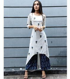 Beautiful cotton-mul Kurti with embroidered butis. Kurti Designs Party Wear, Kurta Designs, Blouse Designs, Latest Kurti Designs, Pakistani Dresses, Indian Dresses, Indian Outfits, Indian Designer Outfits, Designer Dresses