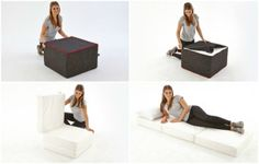 Cool foot stool turns into a bed in seconds