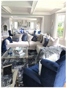 Silver Living Room, Blue And White Living Room, Blue Living Room Decor, Glam Living Room, Living Room Sofa Design, Living Room Designs, Living Room Themes, Blue Living Room Furniture, Sofa For Living Room