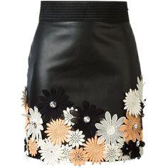 Emanuel Ungaro Flower Appliqué Mini Skirt ($1,650) ❤ liked on Polyvore featuring women's fashion, skirts, mini skirts, bottoms, faldas, saia, black, short mini skirts, multi colored skirt and applique skirt