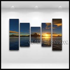 Primitive Contemporary Wall Art Hand-Painted Art Paintings For Bath Room Sunset. This 5 panels canvas wall art is hand painted by E.Cheung, instock - $175. To see more, visit OilPaintingShops.com