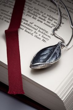 Textured leaf necklace in sterling silver  Bahama Leaf  by redsofa, $145.00
