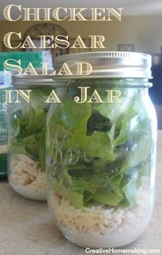 Easy recipe for homemade Caesar Salad in a Jar. Make up several on the weekend to enjoy for lunch during the week.