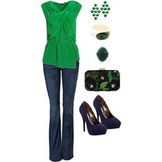 How many weeks until St. Patrick's Day?  Cute top and accessories, even though I'd die if I tried to wear those heels all day.