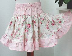 Girl Toddler Skirt Spring Rose Floral Pink Toddler Girl Twirl Skirt Handmade by BerryPatchUSA