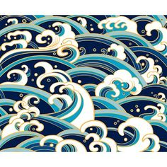 seamless pattern with water waves and splashes grafik Traditional oriental seamless pattern with ocean waves, foam,. Japanese Patterns, Japanese Prints, Japanese Art, Japanese Design, Water Waves, Ocean Waves, Art Mural, Wall Murals, Wall Mural Posters