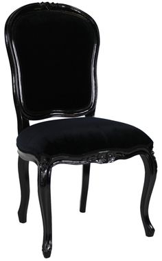 French Noir Black Painted Dining Chair