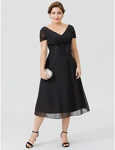 A-Line V-neck Tea-length Chiffon Mother of the Bride Dress with Beading Side Draping by LAN TING BRIDE®