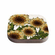 "Art Love Passion ""Sunflower Field"" Beige Yellow Coasters (Set of 4)"