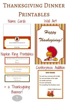 Free Thanksgiving Dinner Printables! Get a head start by downloading and saving these now to print them later for some instant Thanksgiving decor! Includes Thanksgiving dinner name cards, napkin ring printables, wall art, centerpiece addition and banner.