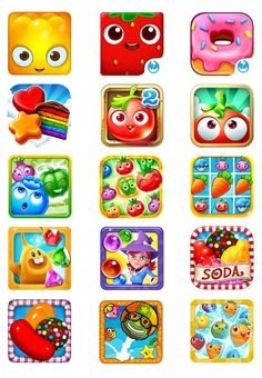 I love how bright and playful these are. The bright colors used are not only eye catching but also communicate that icon is for a game.