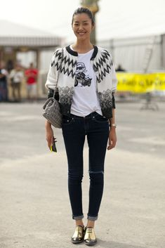 Liu Wen pays homage to the fashion world with a Karl t-shirt. #pfw #ss14