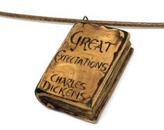Great Expectations Book Pendant - pendant for book lovers with pyrography - wooden book necklace, mini book, wood jewelry, wooden pendant