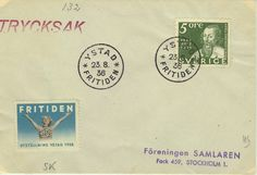 Fritiden 23,8,1936 Svart stämpel, brevmärke