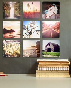 Three squared metal prints are great for displaying your favorite travel memories.