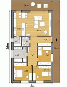 projekt rodinneho domu TIP House Layout Plans, My House Plans, House Layouts, Contemporary House Plans, Modern House Plans, 4 Bedroom House Designs, Narrow Lot House Plans, Beautiful House Plans, Apartment Floor Plans