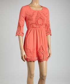 This Coral Lace Scoop Neck Dress by Dani Collection is perfect! #zulilyfinds