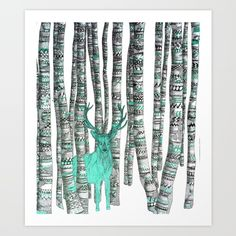 Turquoise Stag Art Print