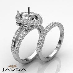 Diamond Vintage Engagement Ring Pear Bridal Set 14k Gold White Semi Mount 2.72Ct