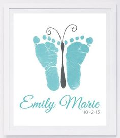 Baby footprint art, forever prints by hand and footprint Keepsake for kids or babies. Mother's Day, New Mother, Nursery Art Baby In loving memory - Baby & Kleinkind - Baby Diy Mothers Day Crafts For Kids, Fathers Day Crafts, Crafts With Baby, Baby Feet Crafts, Newborn Crafts, Ideas Scrapbook, Baby Footprint Art, Baby Footprints, Butterfly Footprints