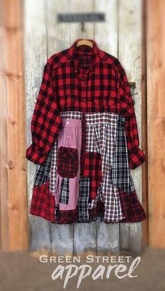 2X Plus Size Art Jacket | Boho coat| Winter jacket | Buffalo Plaid tunic | Shabby Chic Jacket | Upcycled Clothing | Red Plaid Tunic | by GreenStreetApparel on Etsy https://www.etsy.com/listing/586171735/2x-plus-size-art-jacket-boho-coat-winter