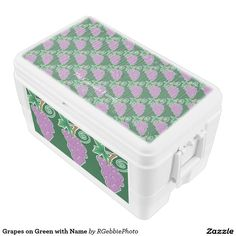 Grapes on Green with Name Igloo Chest Cooler - $97.95 - Grapes on Green with Name Igloo Chest Cooler - by #RGebbiePhoto @ zazzle - #grape #purple #fruit - Decorative grapes background, covering the cooler. Name text on top for easy identification. A bunch of purple grapes on a vine. Forest green background gives this image a natural feel. Great gifts for wine lovers, purple and green natural theme.