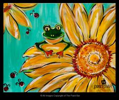 Frog on a Sunflower Painting