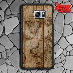 Old World Map Wood Samsung Galaxy S7 Edge Black Case