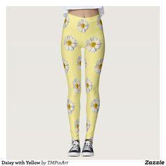 Daisy with Yellow Leggings : Beautiful #Yoga Pants - #Exercise Leggings and #Running Tights - Health and Training Inspiration - Clothing for #Fitspiration and #Fitspo - #Fitness and #Gym #Inspo - #Motivational #Workout Clothes - Style AND comfort can both be achieved in one perfect pair of unique and creative yoga leggings - workout and exercise pants - and running tights - Each pair of leggings is printed before being sewn allowing for fun designs on every square inch - Medium weight fabric…