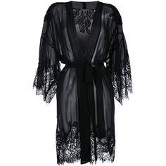 Gold Hawk lace trim wrap dress (3 940 SEK) ❤ liked on Polyvore featuring dresses, black, wrap dress, gold hawk, lace trim dress and gold hawk dress