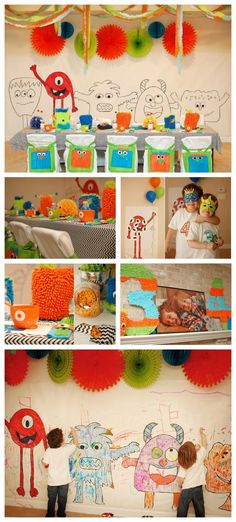 Little Monster Birthday Party- adorable setup! Loving the coloring page wall and DIY masks.