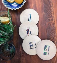 Number Concrete Coasters – Set of 4