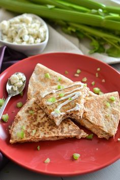 Spicy Tuna Quesadilla with 2-Ingredient Blue Cheese Dressing - The Foodie and The Fix