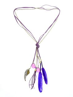 Leather Feather Necklace in Purple - $26.00 : FashionCupcake, Designer Clothing, Accessories, and Gifts