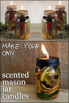 Learn how to make this mason jar oil candle lamp with olive oil, essential oils and other natural materials for a fragrant, pretty display. #craft #masonjar