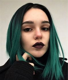 Short straight hairstyle with dark green ombre dye by b.fp