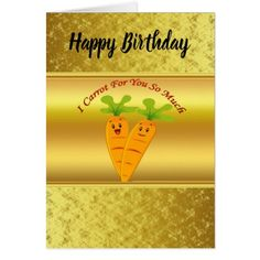 Cartoon carrots with big eyes and a smile to go card - birthday cards invitations party diy personalize customize celebration