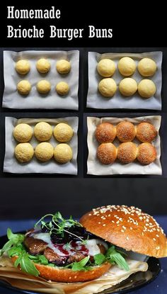 Recipe for my fav brioche burger buns; soft, fluffy, not too sweet. Homemade Brioche, Sweet Buns, Bun Recipe, Artisan Bread, Dinner Rolls, Bread Baking, Yeast Bread, Food And Drink, Cooking Recipes