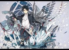 Rivaille (Levi) || WOAAAH WOW WOW WOWW!! This art is so cool!! Definitely pinning this!! That ice and also the colours are just ~<3