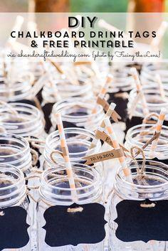 DIY Drink Tags + FREE Printable | ahandcraftedwedding #DIY #wedding #freeprintable