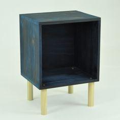 Mesinha Nicho Palito Azul e Natural! - Porta Vinil - MÓVEIS! - Tadah! Design