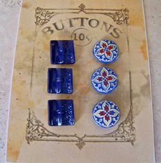 Blue Glass Buttons by cynthiasattic on Etsy, $7.50