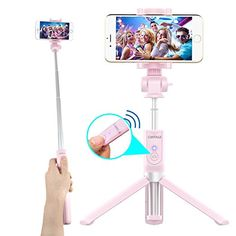 Bluetooth Selfie Stick Tripod with Remote for iPhone 6 6s 7 Plus Galaxy s7 s8 Plus CAIYOULE Extendable Aluminum Monopod and Foldable stand 360 Rotation (Pink)