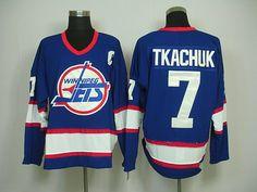 Winnipeg Jets 7 Keith TKACHUK CCM Vintage Hockey Blue Jersey
