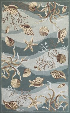 Soft waves of blue-aqua splashed with shell and coral images create a lovely pattern in this beach cottage styled Seafoam Waves of Shells Hand-Hooked Area Rug. Add hints of the beach with this rug covered in shells and sea life images! Country Chic Cottage, Beach Cottage Style, Romantic Cottage, Coastal Cottage, Coastal Style, Beach House Decor, Coastal Living, Coastal Decor, Coastal Homes